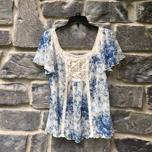 Denim & Supply Blue Floral Paisley Boho Lace Top
